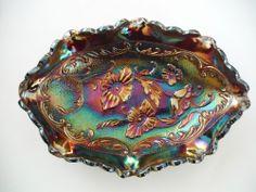 Vintage Fenton Amethyst Carnival Glass Oval Candy/Pickle Dish Poppy Design