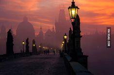 Prague at dusk.