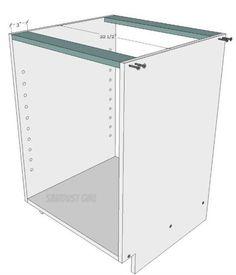 Diy Möbel How to Build a Kitchen Cabinet with wood screws - Sawdust Girl®, Garage Cabinets Diy, Building Kitchen Cabinets, Diy Kitchen Cabinets, Built In Cabinets, Wood Cabinets, Kitchen Furniture, Kitchen Wood, Cabinet Furniture, Office Furniture