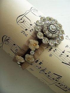 Vintage rhinestone, millinery, velvet bracelet