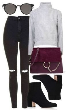 """Untitled #5891"" by rachellouisewilliamson on Polyvore featuring Topshop, Gianvito Rossi, Glamorous and Chloé"
