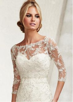 Buy discount Charming Tulle Jacket With Beaded Lace Appliques at Laurenbridal.com