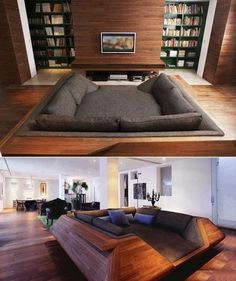 The homebred theatre makes this a cool bedroom:living room!