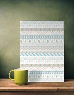 tribal pattern geometric pastel mint peach aqua blue taupe cream Abstract