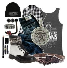 """Saving people, hunting things"" by found-herself-in-wonderland-13 ❤ liked on Polyvore featuring True Religion, Demonia, Carolina Glamour Collection, Butter London, Givenchy and Max Factor"