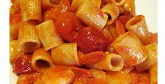 Mezze maniche pasta with shrimp tails
