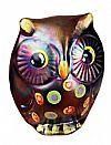 Fenton 3'' Owl figurine in Black with Marigold Spray  Stacy Williams design named Polka Boo