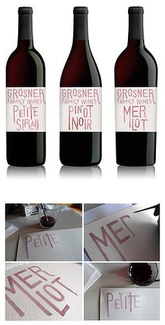wine labels.. hand-drawn type made with wine.