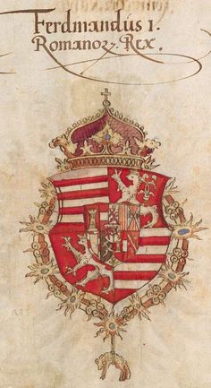 Coat of arms of Ferdinand I as King of the Romans, later Holy Roman Emperor. Wappenbuch des Heiligen Römischen Reiches, Stephan Brechtel , Nürnberg, 1554-1568.