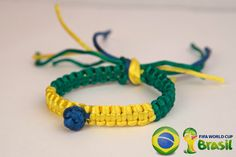 BRAZIL flag WORLD CUP Brazil 2014 Blue Yellow Green Unique Handmade Square Paracord Solomon Bar Macrame Hemp Knot Knotted Bracelet