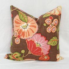 "Orange green & brown decorative throw pillow cover. 18"" x 18"" . 20"" x 20""…"