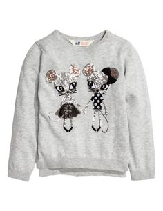 Check this out! Fine-knit cotton sweater with a sequin-embroidered motif at front. Slits at sides and ribbing at cuffs and hem. - Visit hm.com to see more.