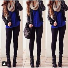 Cute fall outfit! Cobalt jersey. Cream infinity scarf. Black leather jacket. Black jeans. Black boots