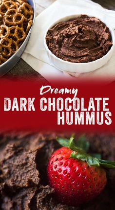 It's a bit unexpected, but oh-so-delicious and our new favorite snack for parties and gatherings. As dip for fruit and pretzels, this dark chocolate hummus is a surprising hit at parties and showers. It's perfect for entertaining! Chocolate Hummus, Healthy Chocolate, Best Chocolate, Homemade Chocolate, Dessert Chocolate, Dessert Dips, Healthy Dessert Recipes, Whole Food Recipes, Cooking Recipes