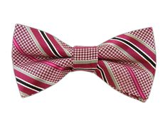 Fuchsia and Striped Tooth Bow Tie