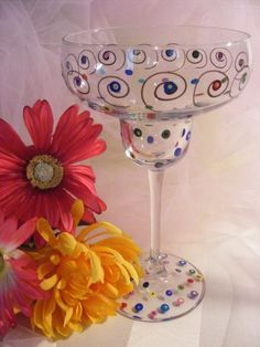 hand painted bridesmaid margarita glass  by DelightfulFinds, $15.00