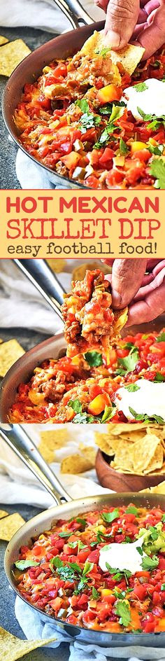 Be ready for the big game with my Hot Mexican Dip recipe! This is our GO-TO easy football food made all in one skillet for easy clean up. With layers of beans, spicy sausage and onions, jalapenos, cheese, and salsa, this Hot Mexican Dip football appetizer is a real crowd pleaser! #easyfootballfood #footballappetizers #skilletrecipes #mexicanrecipes