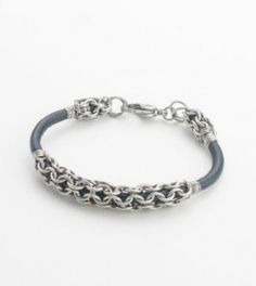 Free Pattern: Leather and Chain Maille Bracelet by Kylie Jones