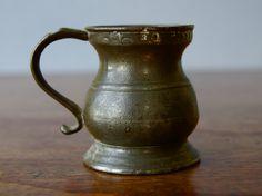 Antique Georgian George IV pewter measuring jug , 1/2 of a quarter pint Pewter jug Georgian pewter