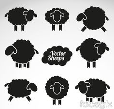 Free download 8 sheep silhouette vector . Free vector includes goat, sheep, silhouette, animal, domestic animal, vector animal. Category: Animal vectors