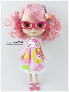 SWEET HELLO KITTY PRINT DRESS WHITE LACE TRIM FOR NEO BLYTHE PULLIP DOLL