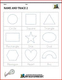 Here you will find our selection of Shape Tracing Worksheets for kindergarten kids. There are a range of worksheets to help children identify and trace different shapes by the Math Salamanders Shape Tracing Worksheets, Tracing Shapes, Printable Math Worksheets, 1st Grade Worksheets, Kindergarten Math Worksheets, Maths, 2d Shapes Names, Shape Names, Math Classroom