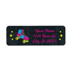 Neon Skate Party Address Labels