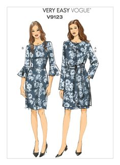 V9123 Misses' collarless jacket, belt, and sleeve-flounce dress.