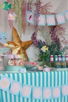 Mermaid Under the Sea party by Wants and Wishes #desserttable #parties #kidsparties #mermaidparty
