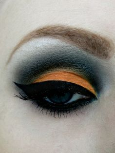 Halloween eye makeup ( or for school spirit on game night) GO Orioles!