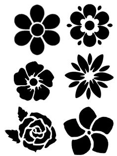 Stencil Patterns, Stencil Designs, Paint Designs, Flower Svg, Flower Template, Flower Silhouette, Principles Of Art, Decoupage Vintage, Vector Flowers