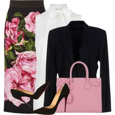 A fashion look from March 2017 featuring MICHAEL Michael Kors blouses, Gucci blazers en Dolce&Gabbana skirts. Browse and shop related looks.