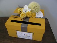 Wedding Card Box Fall Autumn Rustic Marigold Yellow Gold Mustard and Charcoal Gray Twigs, mums and Personalized Name Tag You Customize. $55.00, via Etsy.