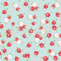 English Rose, Seamless wallpaper pattern with pink roses on blue background by Alisa Foytik - Imagens vectoriais em stock