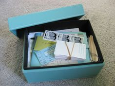 Relationship box...only save things to fill one box then you never let clutter weigh you down. Another great idea from Young House Love!!