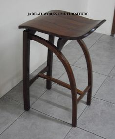 Have just finished making this stool. Was not sure which was best, with a padded leather seat or with a wooden seat. This is made so that the more pressure you put on the seat, the harder the joints are forced together. Wooden Stools, Furniture Styles, Hardwood, Style Inspiration, Chair, Design, Home Decor, Homemade Home Decor, Wooden Bar Stools