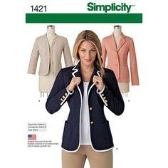 Simplicity Pattern 1421 Women's Jacket Blazer Pattern, Jacket Pattern, Wedding Dress Patterns, Bias Tape, Simplicity Sewing Patterns, Clothing Patterns, Jackets For Women, Vintage, Blazers