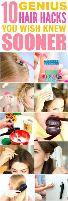 These 10 genius hair hacks every girl should know are THE BEST! I'm so glad I found these AWESOME tips! Now I have some awesome ways to save time and get cute hair! Definitely pinning!