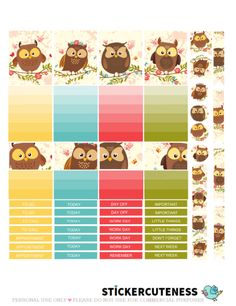 Free Printable Romantic Owl Planner Stickers from StickerCuteness