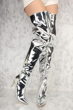 Silver Chrome Flared Pointy Toe Thigh High Heel Boots Patent
