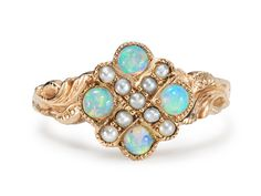 Embellished Opal Pearl Ring - The Three Graces