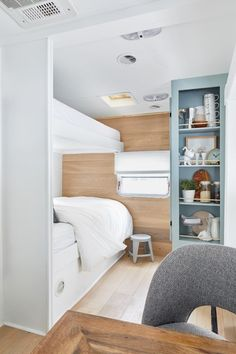 Modern Tiny House - This year I jumped on the Tiny Home trend and worked with my parents to remodel an old Wheel Trailer. Home Trends, House, Interior, Trailer Remodel, Home, Remodel, Rv Living, Remodel Bedroom, Modern Tiny House