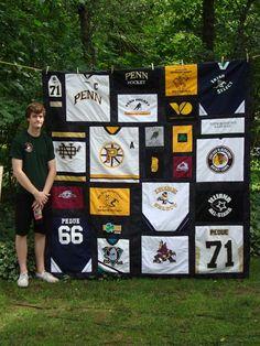 T-shirt/hokey jersey quilt for Penn grad