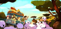 "Flooby Nooby: Visual Development from the animated feature ""My Family and the Wolf"" by Headless Productions Background Drawing, Cartoon Background, Animation Background, Cartoon Drawings, Cartoon Art, Character Illustration, Illustration Art, Animation News, Perspective Art"
