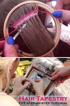 Hair tapestry DIY step-by-step tutorial - using embroidery hoop or a small picture frame: