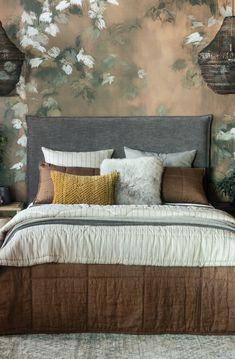 Noma copper bedspread with Tessere natural stripe comforter and Orlare slate headboard Linen Headboard, Linen Bedding, Bedding Sets, Comforter, Bed Linen Design, Bed Design, Copper Bedroom, Plywood Panels, Fine Linens