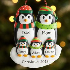 Personal Creations #Gifts  #Personalizedgifts Penguin Family Ornament | Personal Creations - Great Personalized Gifts via- http://www.AmericasMall.com/personalcreations-gifts