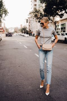 34f9a591347c Blonde Woman Wearing Topshop Grey Tshirt Blanknyc Ripped Jeans Christian  Louboutin White Pumps Chanel Quilted Tan
