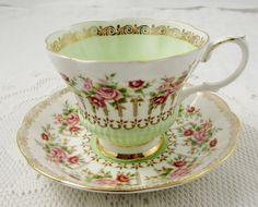 Royal Albert Tea Cup and Saucer Green Park Series, Vintage Bone China