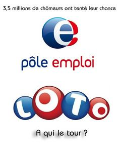 Logo pôle emploi détourné  Octobre 2008, la fusion de l'Assedic et de l'ANPE donnent Pôle emploi, dégradé de bleu, effet cristal, aspect ludique, type pacman ou loto ?